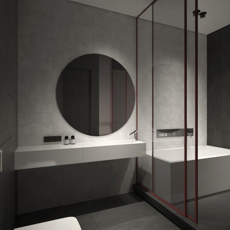 Glazen deur uitgevoerd met een minimalistisch kader als schuifdeur in een badkamer