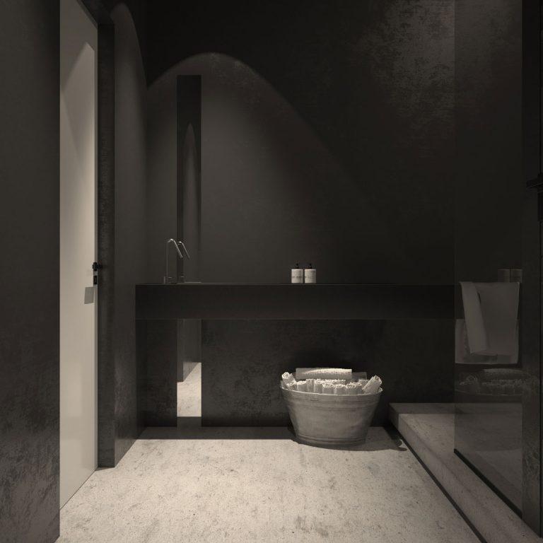 Verborgen kozijn, vlakke gestabiliseerde deur, verdekte scharnieren met contrasterend zwart garnituur